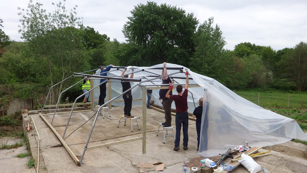 polytunnel cover on